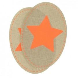 Coudières Genouillères étoile orange fluo /camel toile