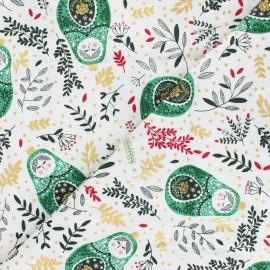Tissu coton Winter Dreams - Babushka Dolls - vert x 10cm