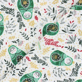 Winter Dreams cotton fabric - green Babushka Dolls x 10 cm