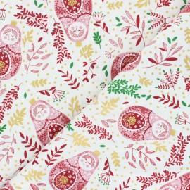 Tissu coton Winter Dreams - Babushka Dolls - bordeaux x 10cm