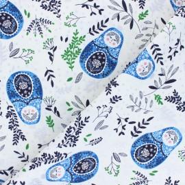 Tissu coton Winter Dreams - Babushka Dolls - bleu x 10cm