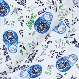 Winter Dreams cotton fabric - blue Babushka Dolls x 10 cm