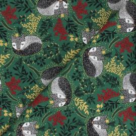 Tissu coton Winter Dreams - Royal Fox - vert x 10cm