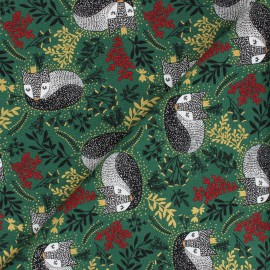 Winter Dreams cotton fabric - green Royal Fox x 10 cm