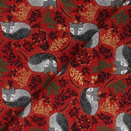 Winter Dreams cotton fabric - red Royal Fox x 10 cm