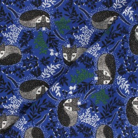 Winter Dreams cotton fabric - blue Royal Fox x 10 cm