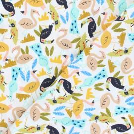 Adventure cotton fabric - white Flock x 10 cm