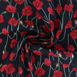 Kokka Cotton fabric - black Poppy Garden x 10cm