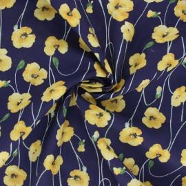Tissu coton Kokka Poppy Garden - bleu marine x 10cm