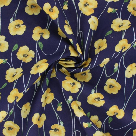 Kokka Cotton fabric - navy blue Poppy Garden x 10cm
