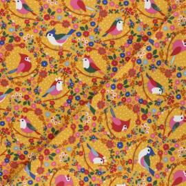 Printed Jersey fabric - mustard yellow Les oiseaux d'Althéa x 10cm