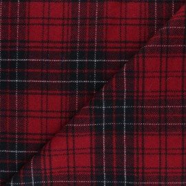 Checked elastane Wool fabric - red Evans x 10cm