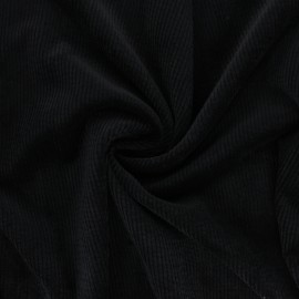 Washed ribbed velvet fabric - black Jules x 10cm