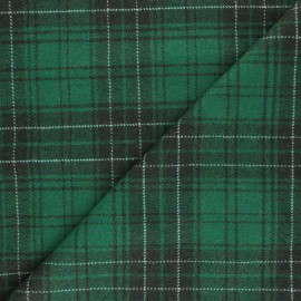 Checked elastane Wool fabric - green Evans x 10cm