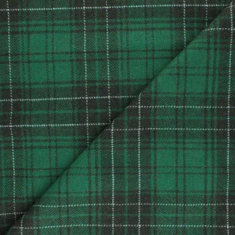 Checked elastane Wool fabric - green Evans x 10cm