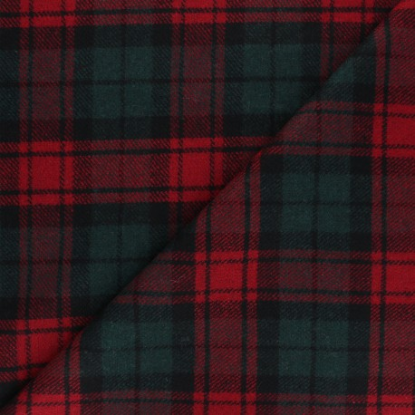Checked elastane Wool fabric - red Jones x 10cm