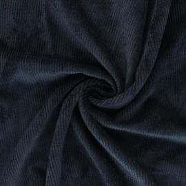 Tissu velours côtelé washé Jules - bleu marine x 10cm