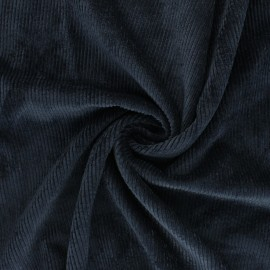 Washed ribbed velvet fabric - navy blue Jules x 10cm
