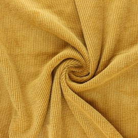 Washed ribbed velvet fabric - mustard yellow Jules x 10cm