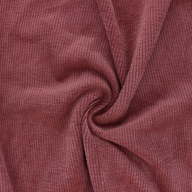 Washed ribbed velvet fabric - red brick Jules x 10cm