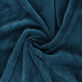 Washed ribbed velvet fabric - peacock blue Jules x 10cm