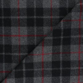 Tissu Lainage élasthanne à carreaux Davis - gris x 10cm