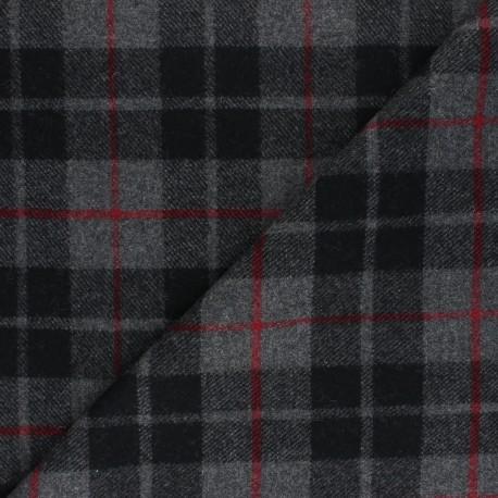 Checked elastane Wool fabric - grey Davis x 10cm