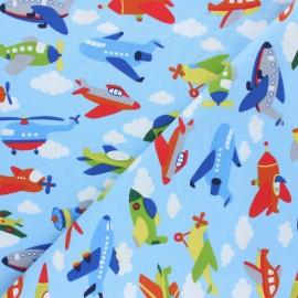 Tissu jersey Sky traffic - bleu clair x 10cm