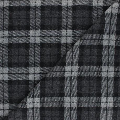 Checked elastane Wool fabric - grey Williams x 10cm