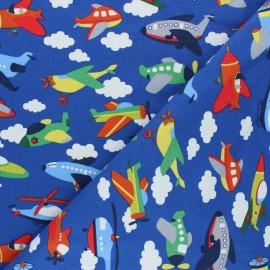 Printed Jersey fabric - royal blue Sky traffic x 10cm