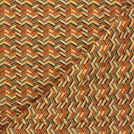 Tissu jersey Chevrons colorés - jaune moutarde x 10cm