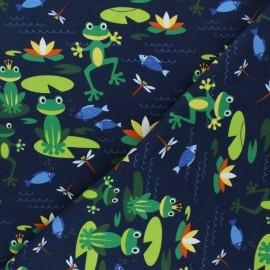 Tissu jersey Fête des grenouilles - bleu marine x 10cm