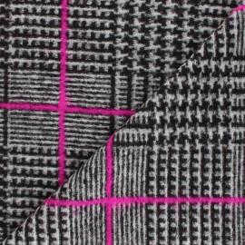 Tissu Lainage pied de poule Megan - gris x 10cm