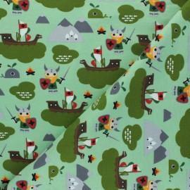 Printed Jersey fabric - green Aventure Viking x 10cm