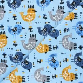 Printed Jersey fabric - blue Oiseaux rois x 10cm