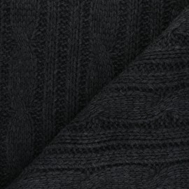 Knit fabric - dark grey Torsades x 10cm