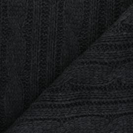 Tissu Maille Tricot Torsades - gris anthracite x 10cm