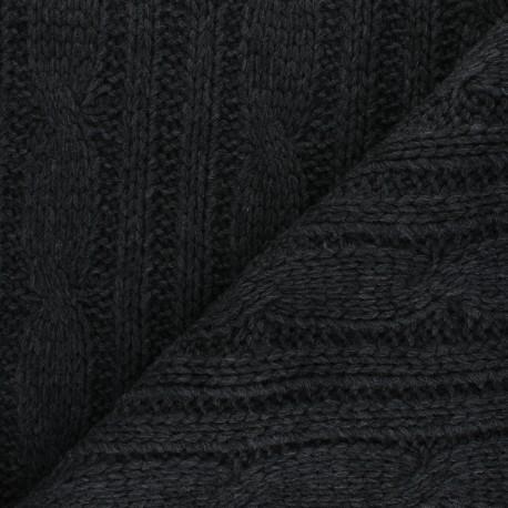 Knit fabric - dark grey Torsades x 10cm