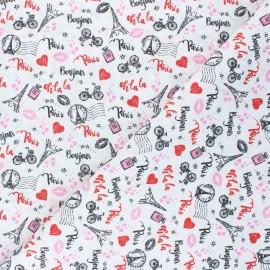 Tissu coton cretonne Glamorous Paris - blanc x 10cm