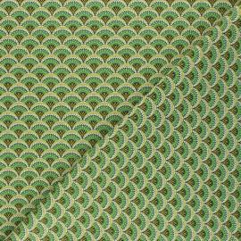 Tissu coton cretonne Wazabi - vert x 10cm