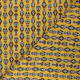 Tissu coton cretonne African mask - jaune moutarde x 10cm