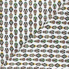Tissu coton cretonne African mask - blanc x 10cm