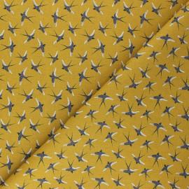 Cretonne cotton fabric - mustard yellow Birdie x 10cm