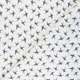 Cretonne cotton fabric - white Birdie x 10cm