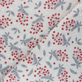Linen aspect polycotton fabric - natural Holly x 10cm