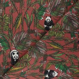 Cretonne cotton fabric - mahogany brown Bambouseraie x 10cm