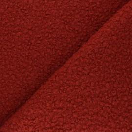 Checked curly wool fabric  - brick Maëlys x 10cm