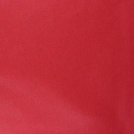Tissu coton cretonne enduit nacré - rouge x 10cm