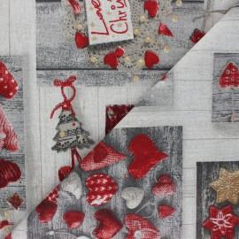 Tissu Toile polycoton Winter Wonderland - gris x 10cm