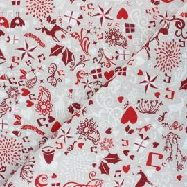 Linen aspect polycotton fabric - natural White Christmas x 10cm